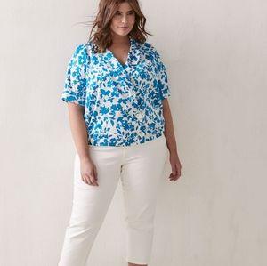 NWT Addition Elle Plus Size Summer Top Blouse Blue